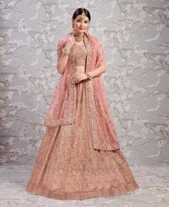 Thread Work Georgette Pink Circular Lehenga Choli