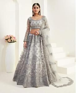 Thread Satin Lehenga in Grey