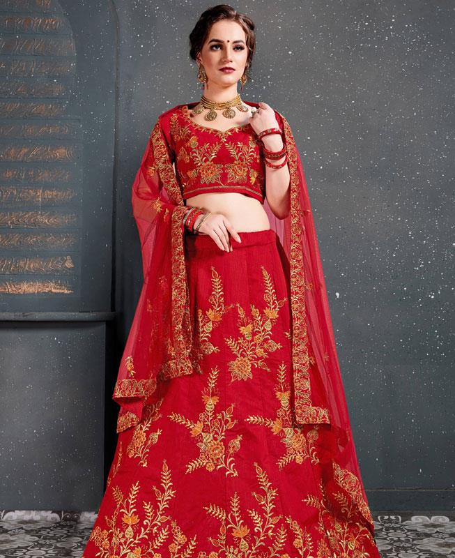 Thread Work Silk Red Circular Lehenga Choli