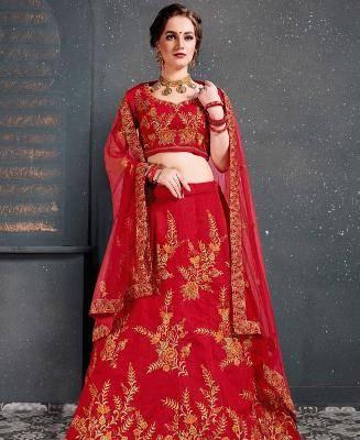 Thread Work Silk Red Circular Lehenga Choli