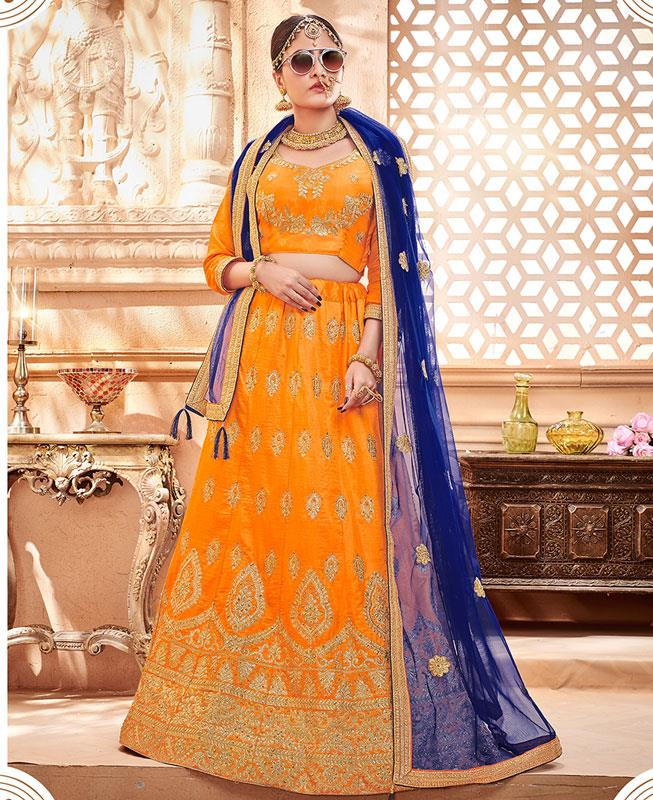 Zari Satin Lehenga in Orange