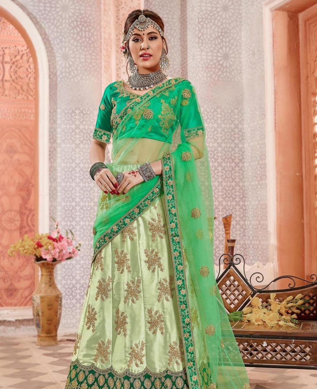 Embroidered Satin Green Circular Lehenga Choli