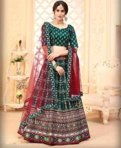 Printed Silk Lehenga in Green