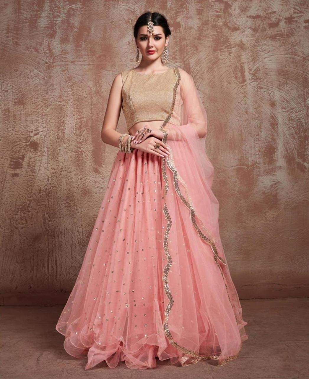 Sequins Lycra Pink Circular Lehenga Choli