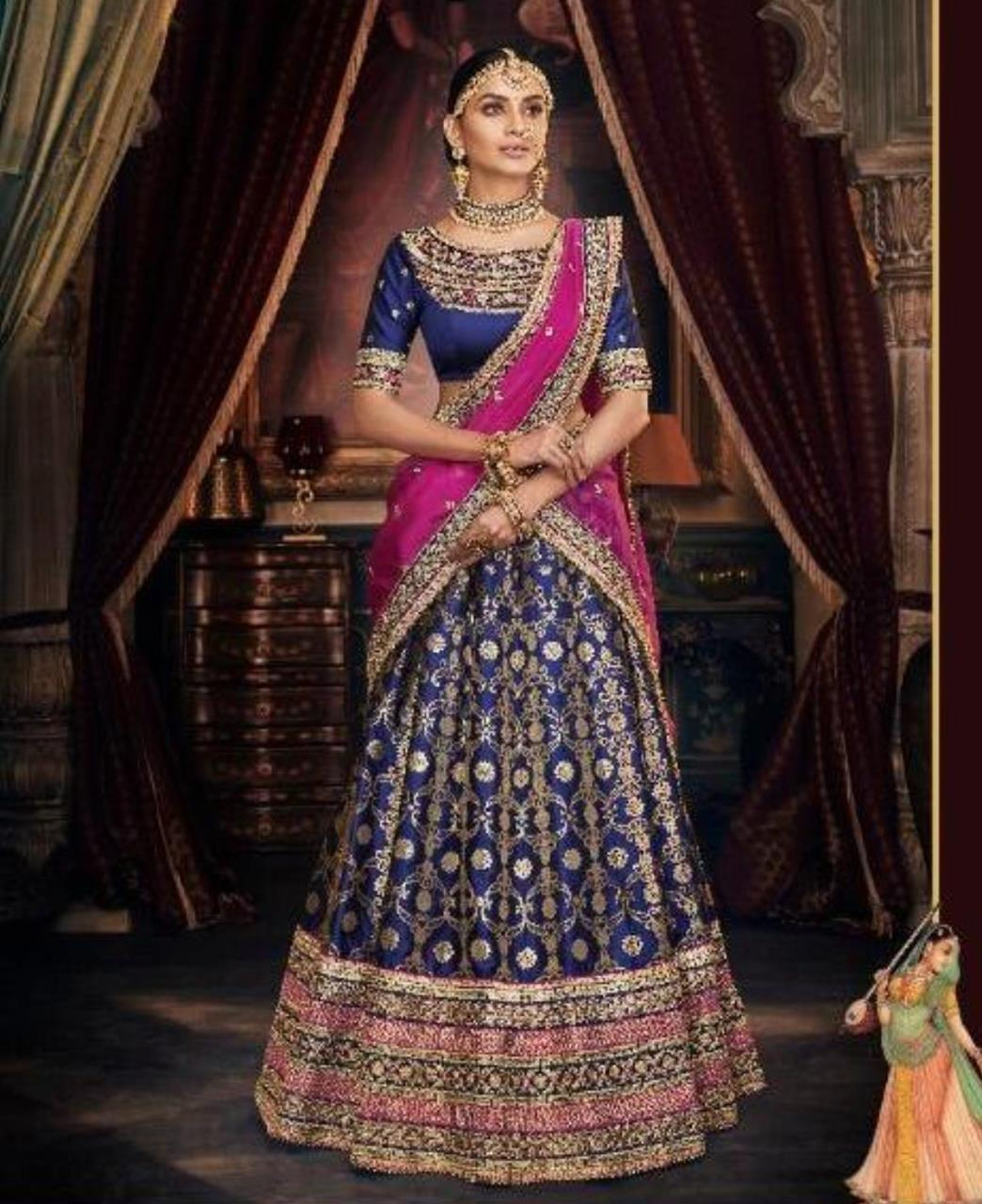 Stone Work Silk Lehenga in Blue