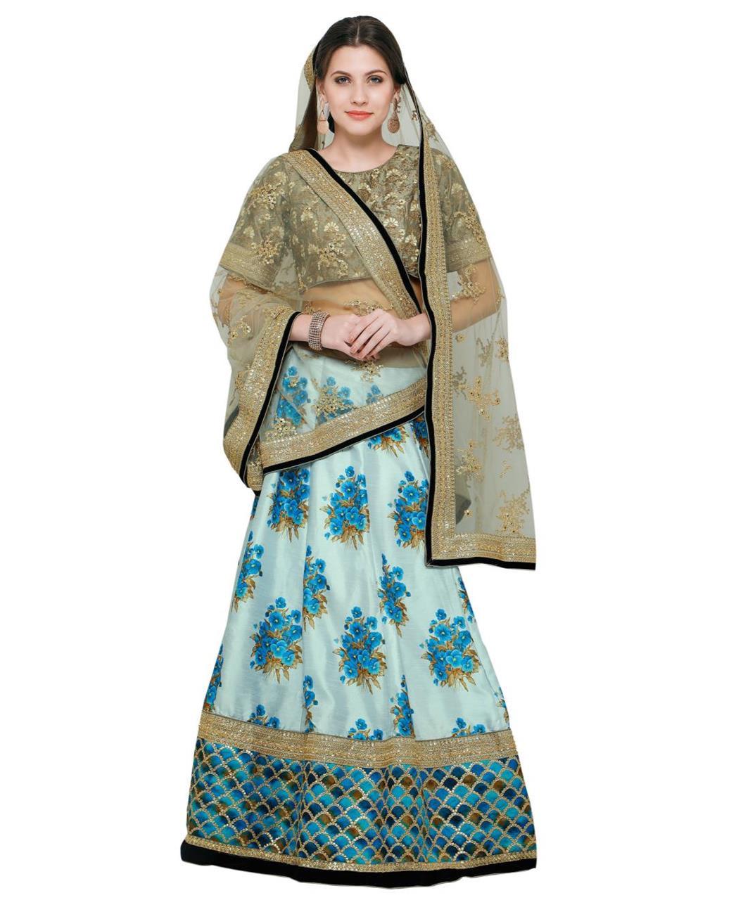 Embroidered Bangalore Silk SKYBLUE Long choli Lehenga Choli Ghagra