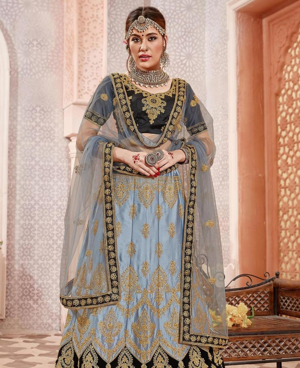 Embroidered Satin Blue Circular Lehenga Choli