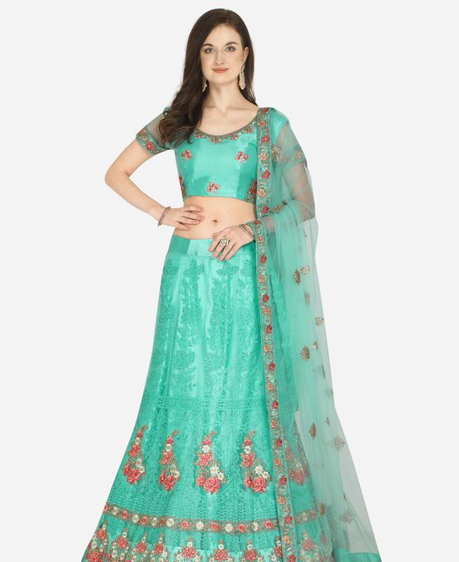 Net Lehenga in Sea Green