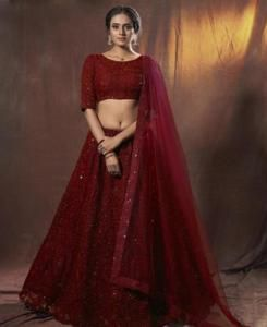 Thread Net Lehenga in Maroon