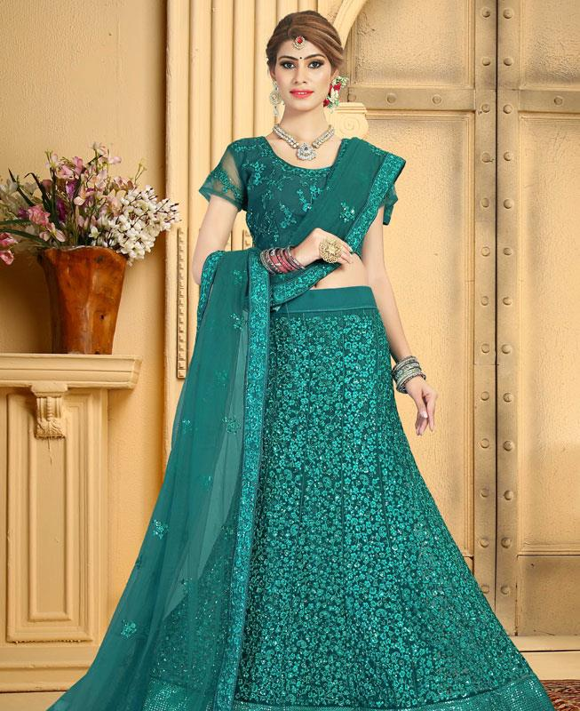 Satin Lehenga in Teal Green
