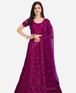 Net Lehenga in Purple
