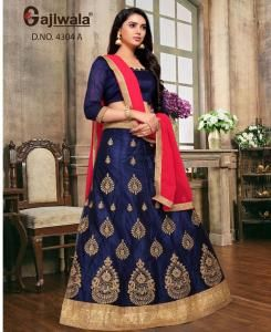 Embroidered Satin Navyblue Circular Lehenga Choli