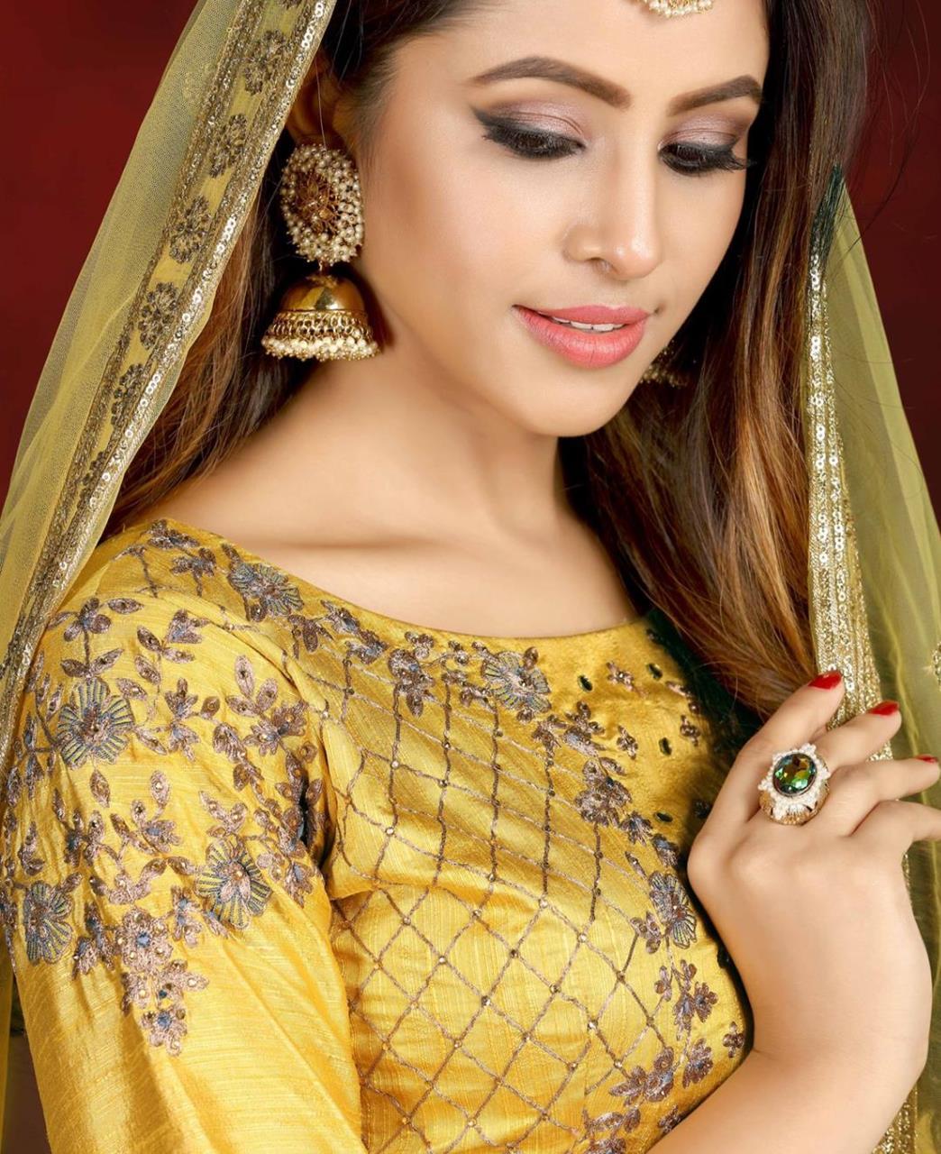 Embroidered Silk Lehenga in Yellow