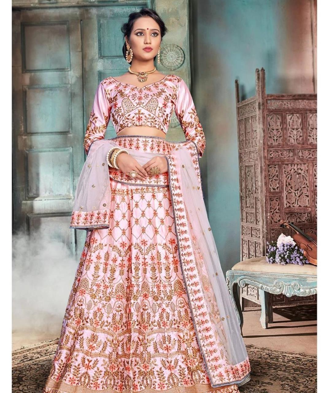 Embroidered Satin Pink Circular Lehenga Choli Ghagra