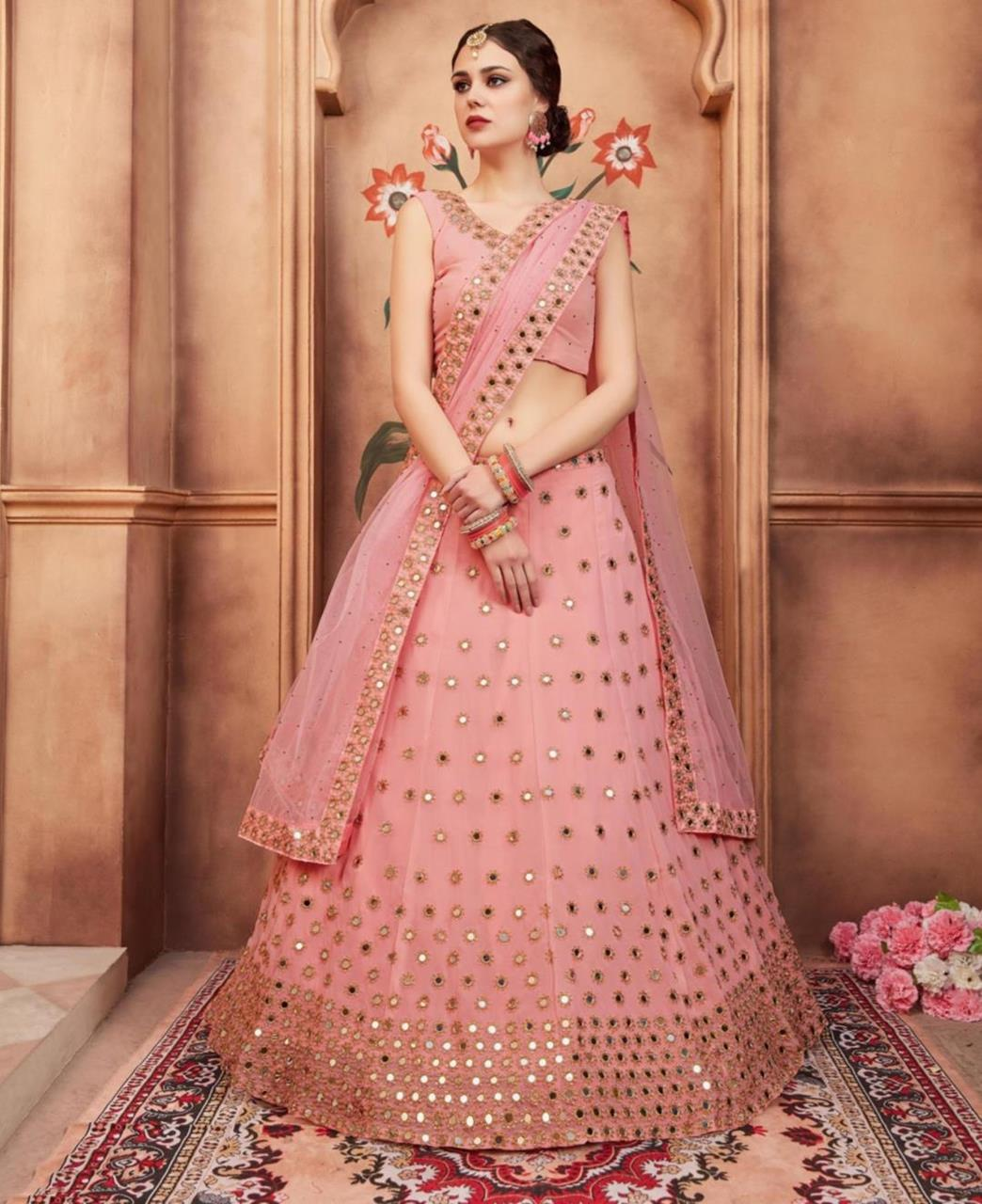 Embroidered Net Pink Circular Lehenga Choli Ghagra