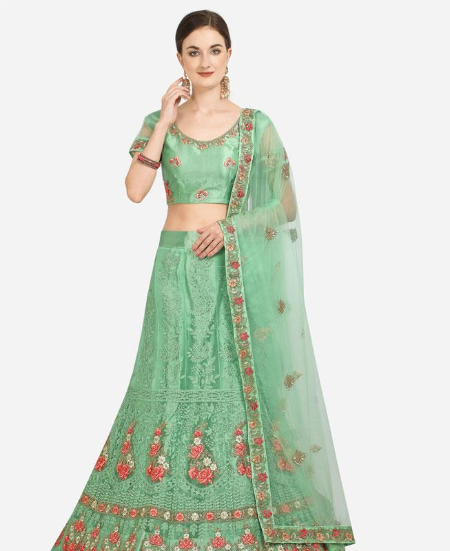 Net Lehenga in Light Green