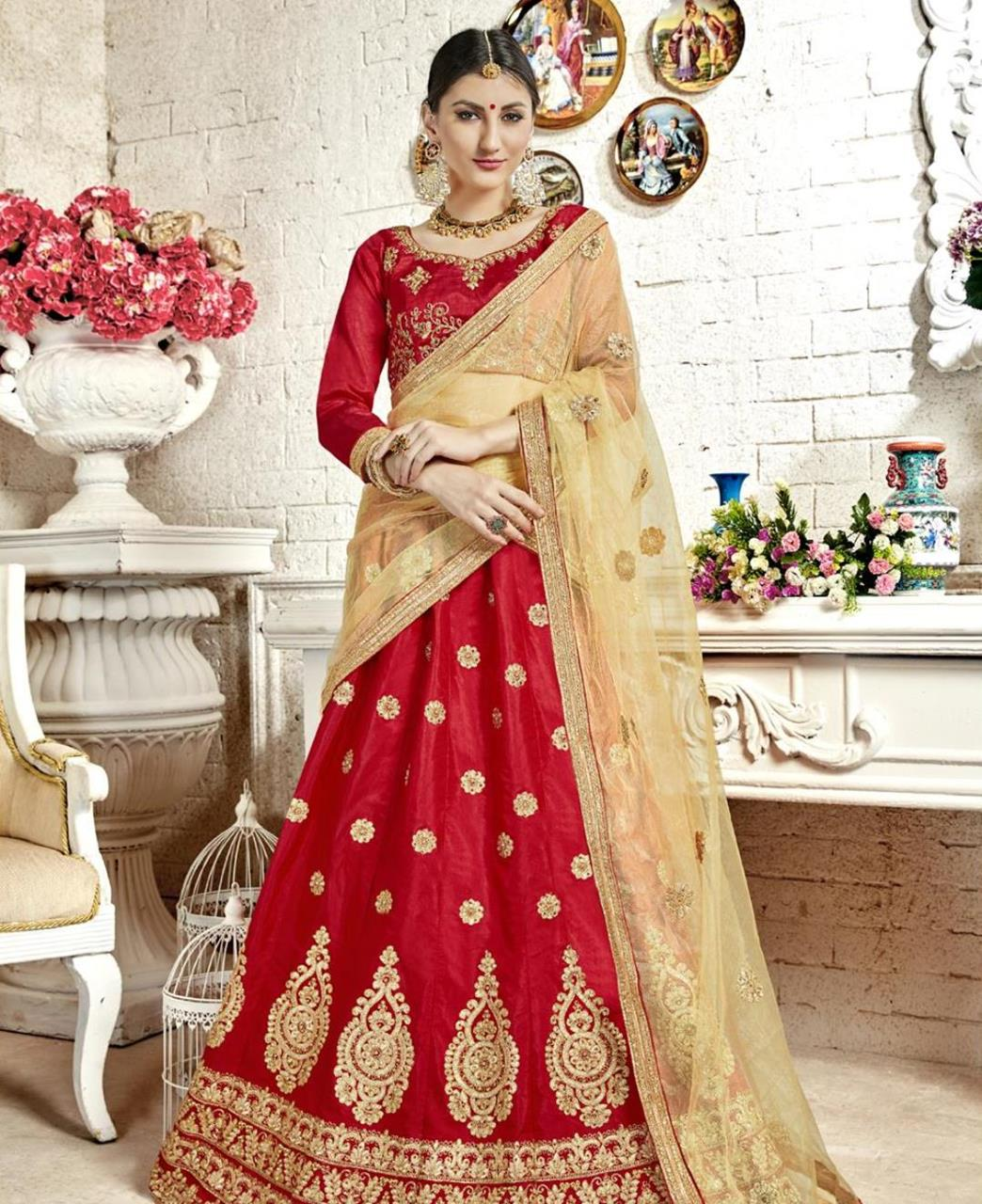 Embroidered Bangalore Silk Red Circular Lehenga Choli Ghagra