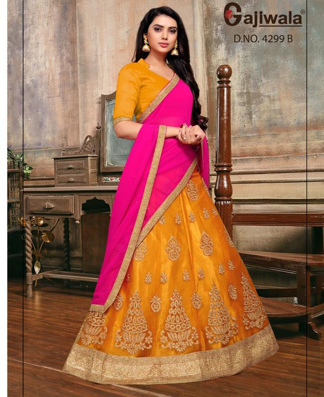Embroidered Satin Yellow Circular Lehenga Choli