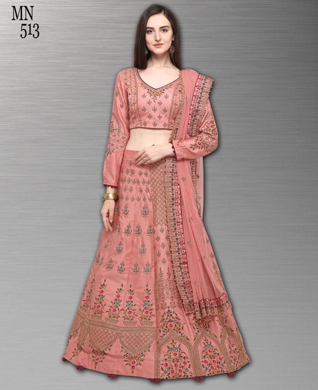 Resham Silk Pink Circular Lehenga Choli