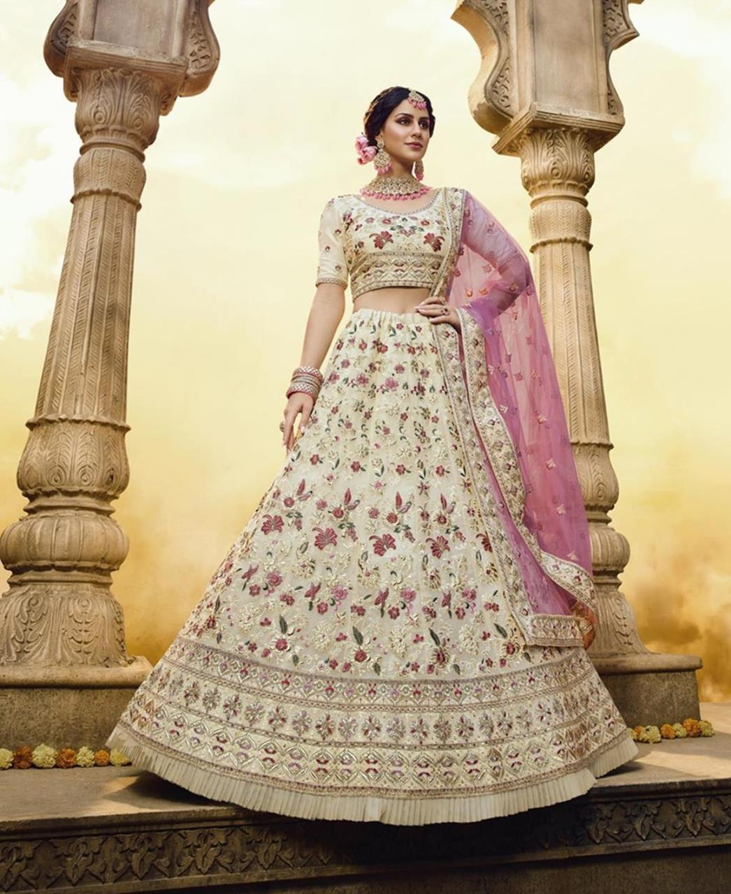 Thread Net Lehenga in Off White