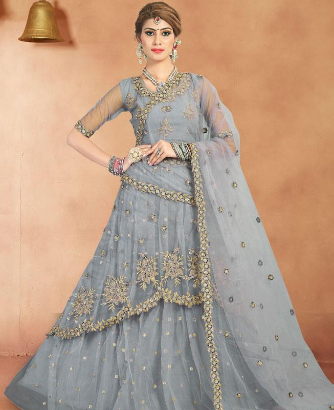 Zari Satin Lehenga in Grey