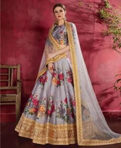 Sequins Silk Lehenga in Grey