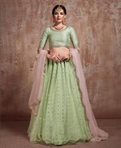 Sequins Art Silk MINTCREAM Circular Lehenga Choli