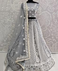 Thread Net Lehenga in Grey