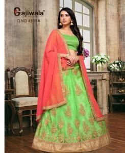 Embroidered Satin MINTCREAM Circular Lehenga Choli