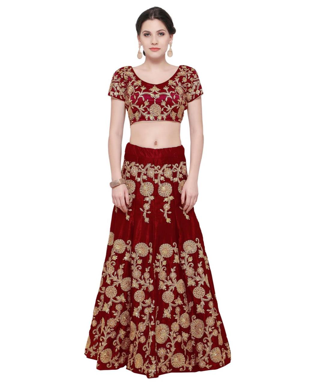 Embroidered Velvet Maroon Long choli Lehenga Choli Ghagra