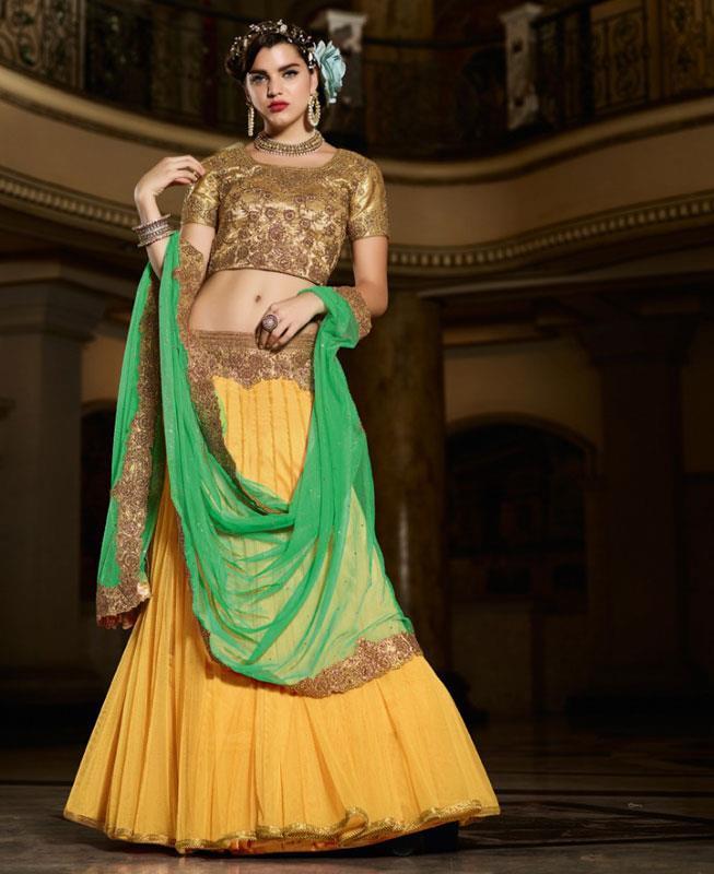 Plain Net Yellow Long choli Lehenga Choli Ghagra