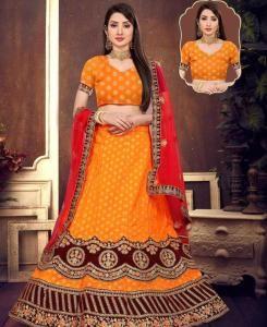 Silk Lehenga in Orange