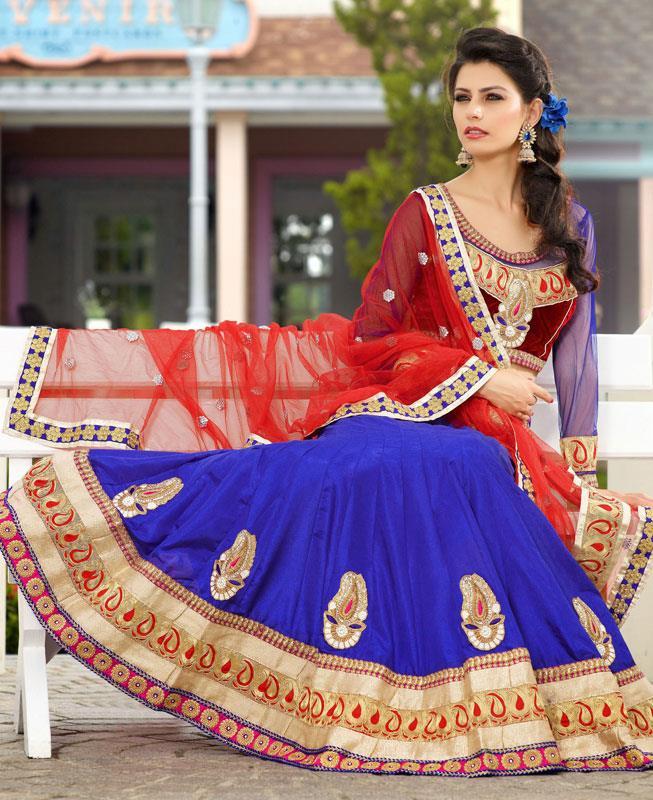 Embroidered Net Blue Circular Lehenga Choli Ghagra