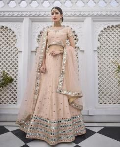 Embroidered Silk Lehenga in Peach