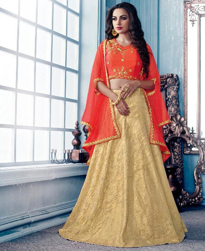 Plain Lycra Orange Circular Lehenga Choli Ghagra