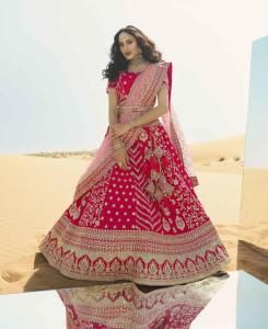 Stone Work Silk Lehenga in Pink