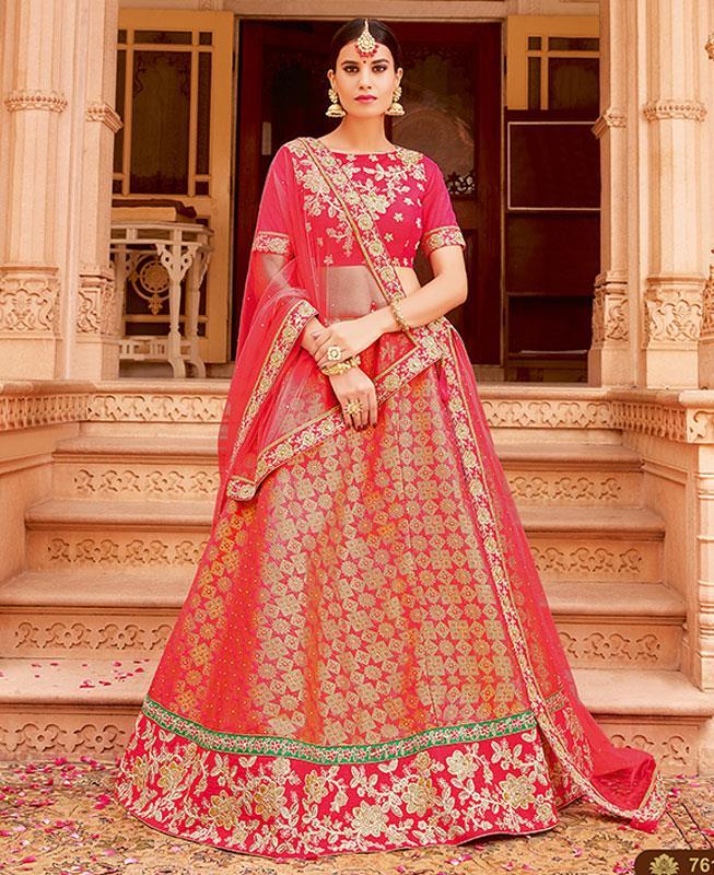 Printed Jacquard Pink Long choli Lehenga Choli Ghagra