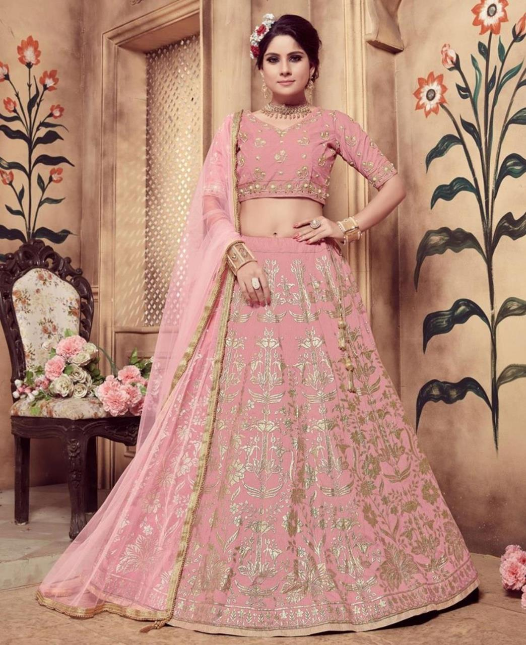 Embroidered Silk Mistyrose Circular Lehenga Choli