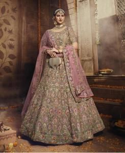 Thread Net Lehenga in Light Brown