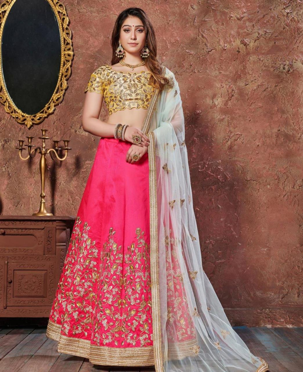 Embroidered Silk Pink Circular Lehenga Choli