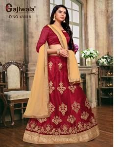 Embroidered Satin Maroon Circular Lehenga Choli