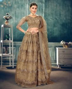 Thread Net Lehenga in Copper Beige