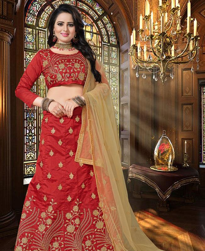 Zari Silk Red Circular Lehenga Choli