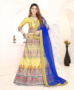 Lace Satin Lehenga in Yellow