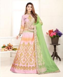 Lace Satin Lehenga in Peach