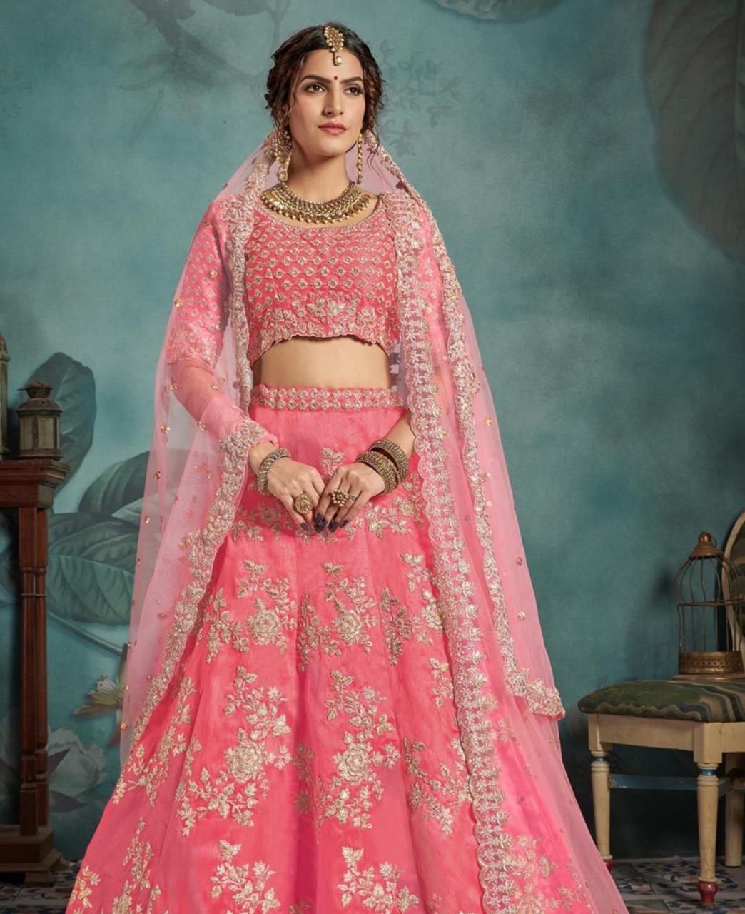 Sequins Silk Lehenga in Neon Pink