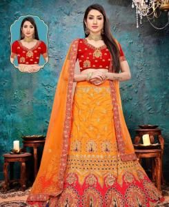 Silk Lehenga in Yellow