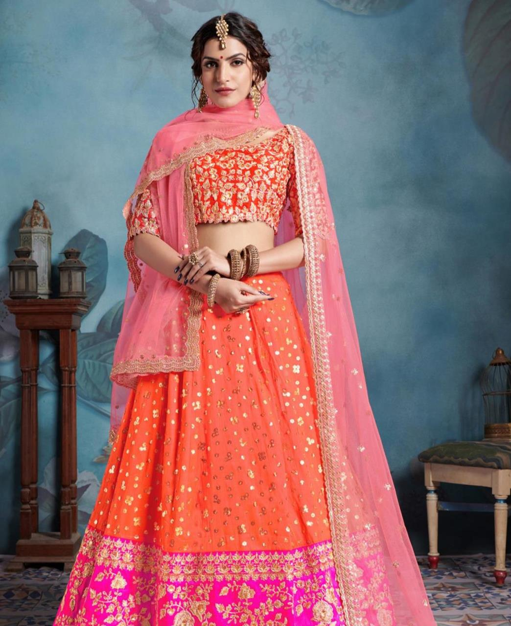 Sequins Art Silk Orange Circular Lehenga Choli