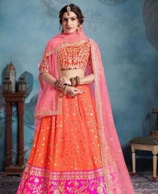 Sequins Art Silk Orange Circular Lehenga Choli