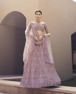 Sequins Net Lehenga in Lilac